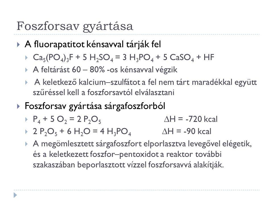 Foszforsav gyártása A fluorapatitot kénsavval tárják fel