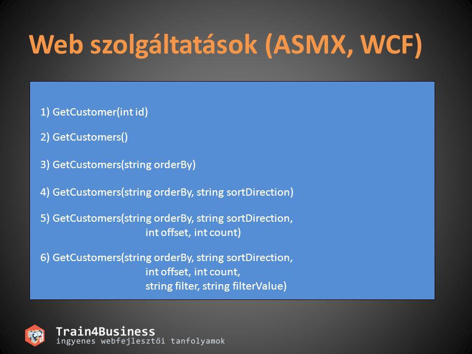 Web szolgáltatások (ASMX, WCF)