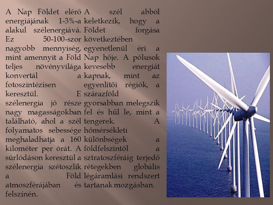 A Nap Földet elérő energiájának 1-3%-a alakul szélenergiává