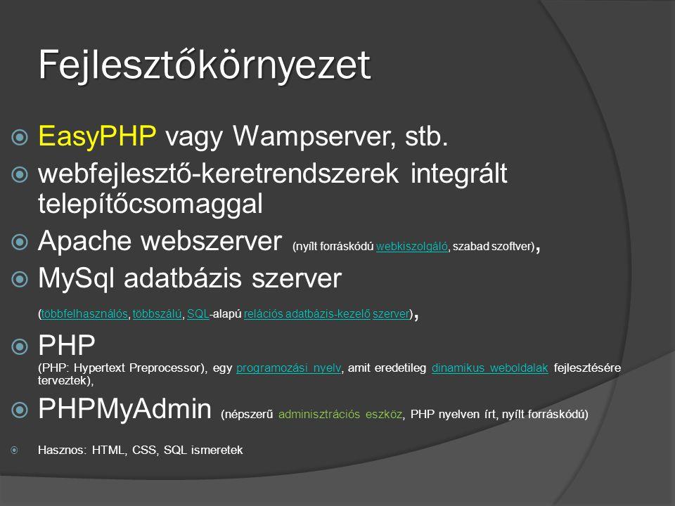 Fejlesztőkörnyezet EasyPHP vagy Wampserver, stb.