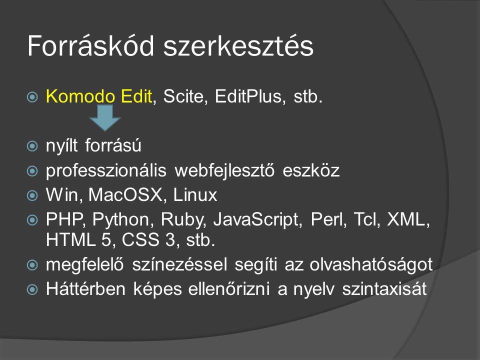 Forráskód szerkesztés