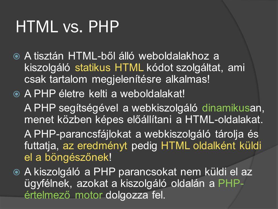 HTML vs. PHP A tisztán HTML-ből álló weboldalakhoz a kiszolgáló statikus HTML kódot szolgáltat, ami csak tartalom megjelenítésre alkalmas!
