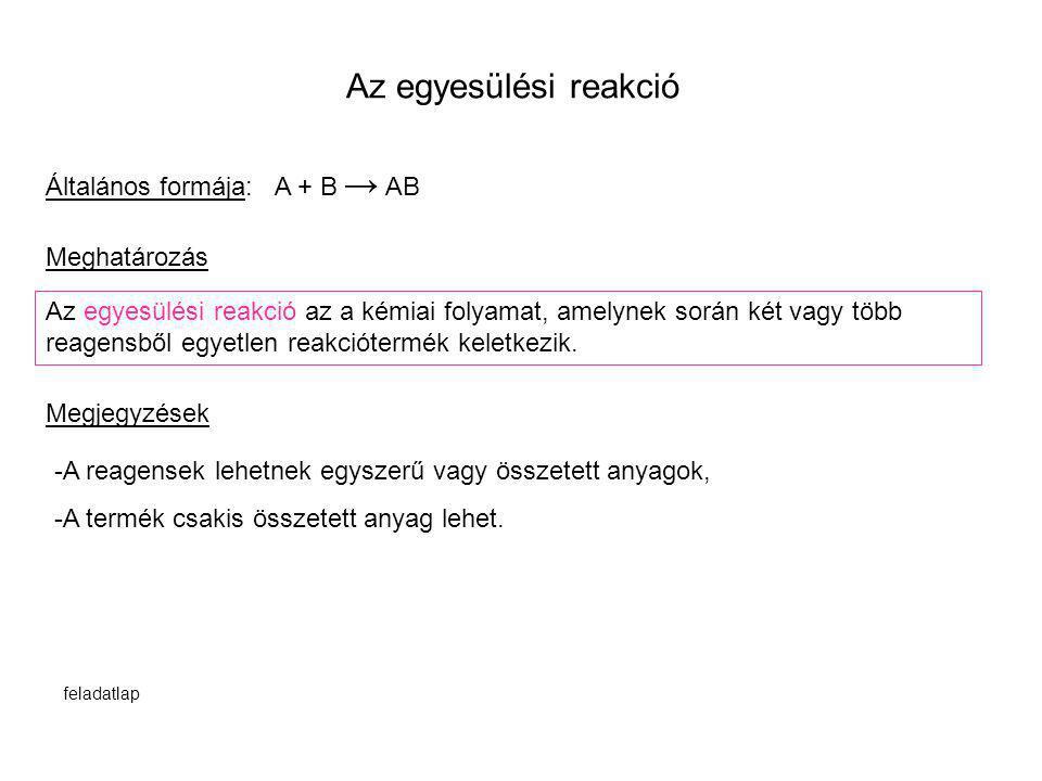 Az egyesülési reakció Általános formája: A + B → AB Meghatározás