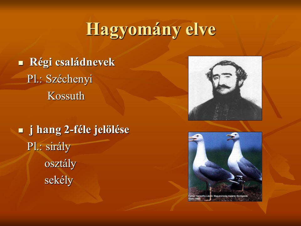 Hagyomány elve Régi családnevek Pl.: Széchenyi Kossuth