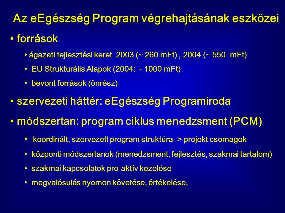 Az eEgészség Program végrehajtásának eszközei