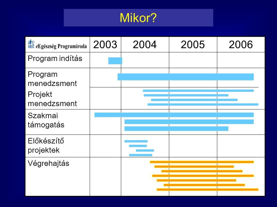 Mikor 2003 2004 2005 2006 Program indítás Program menedzsment