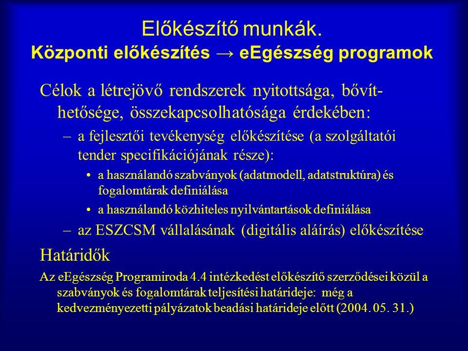 Előkészítő munkák. Központi előkészítés → eEgészség programok