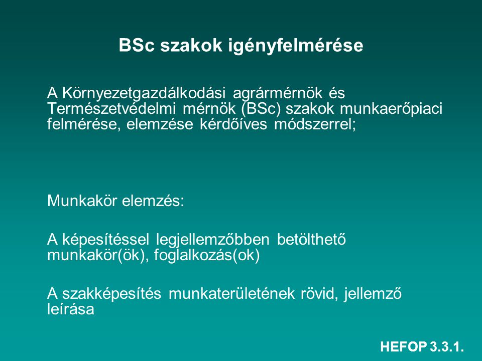 BSc szakok igényfelmérése