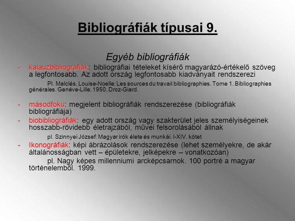 Bibliográfiák típusai 9.