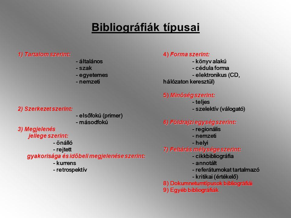 Bibliográfiák típusai