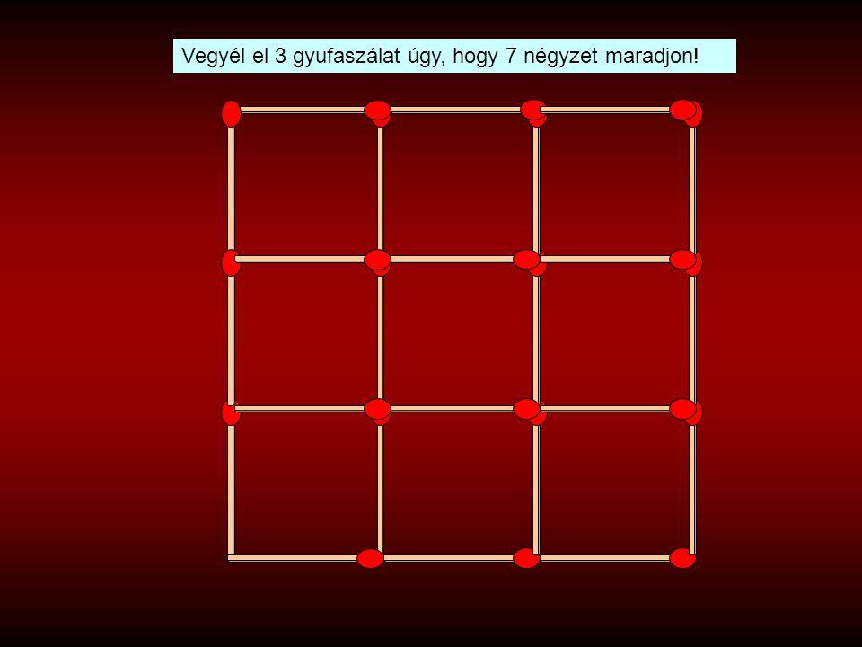Vegyél el 3 gyufaszálat úgy, hogy 7 négyzet maradjon!