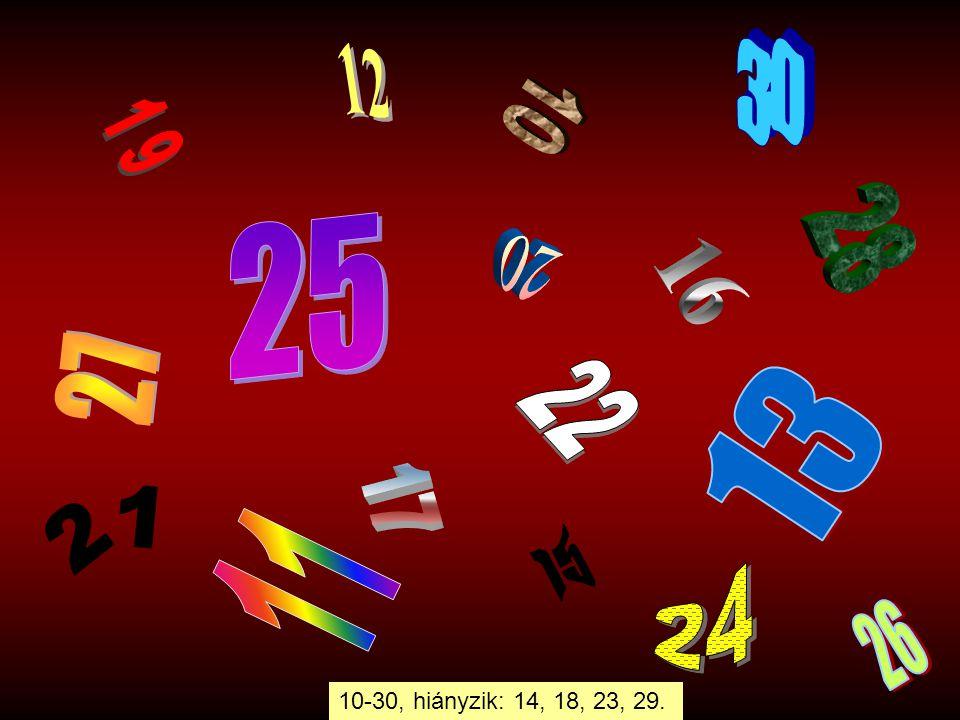 30 12 10 19 28 25 20 16 27 22 13 17 11 15 21 24 26 10-30, hiányzik: 14, 18, 23, 29.