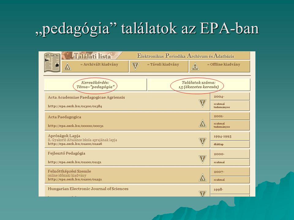 """""""pedagógia találatok az EPA-ban"""