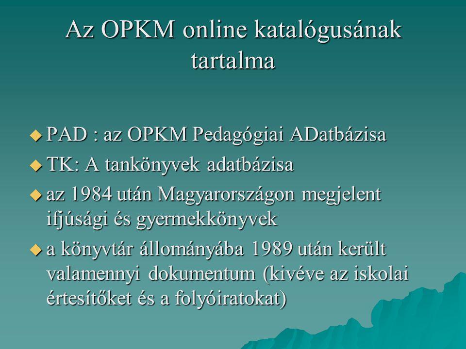 Az OPKM online katalógusának tartalma