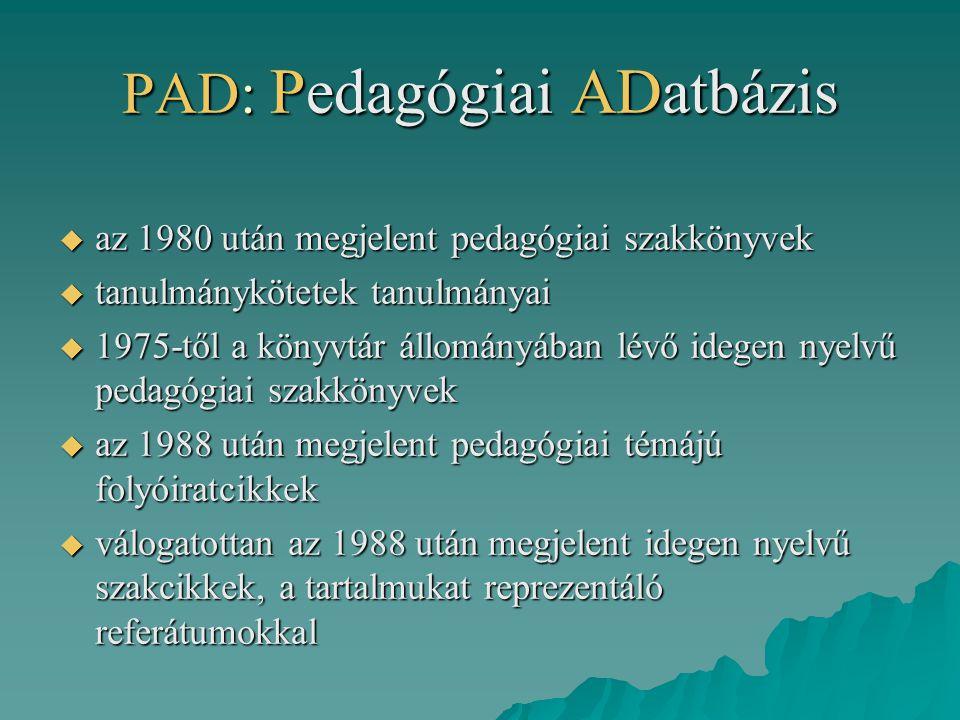 PAD: Pedagógiai ADatbázis