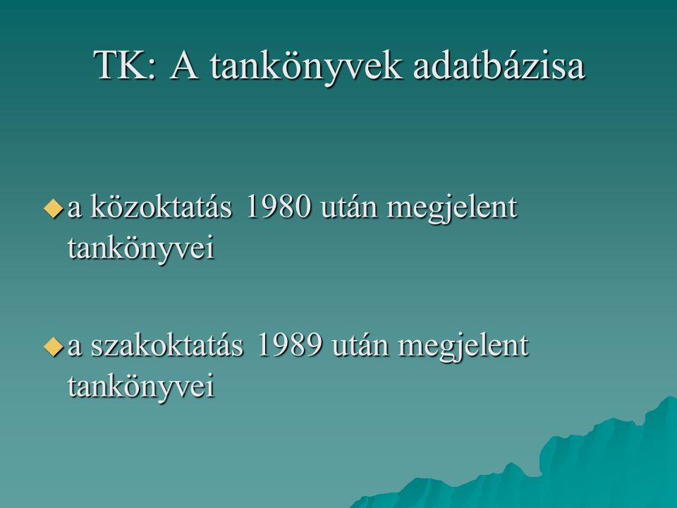 TK: A tankönyvek adatbázisa
