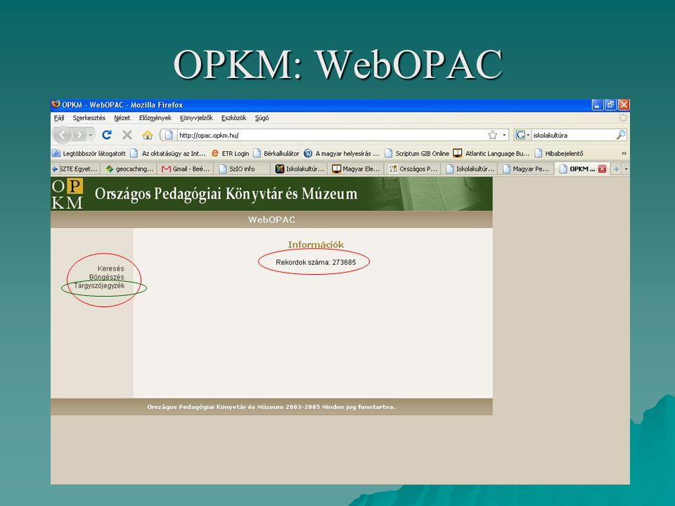 OPKM: WebOPAC