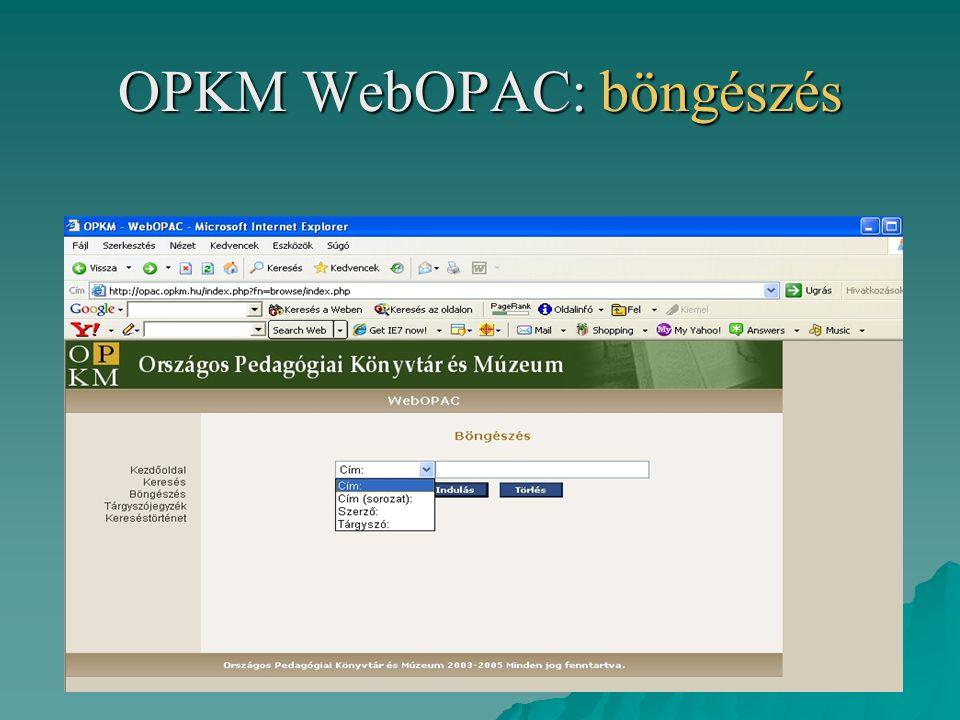 OPKM WebOPAC: böngészés