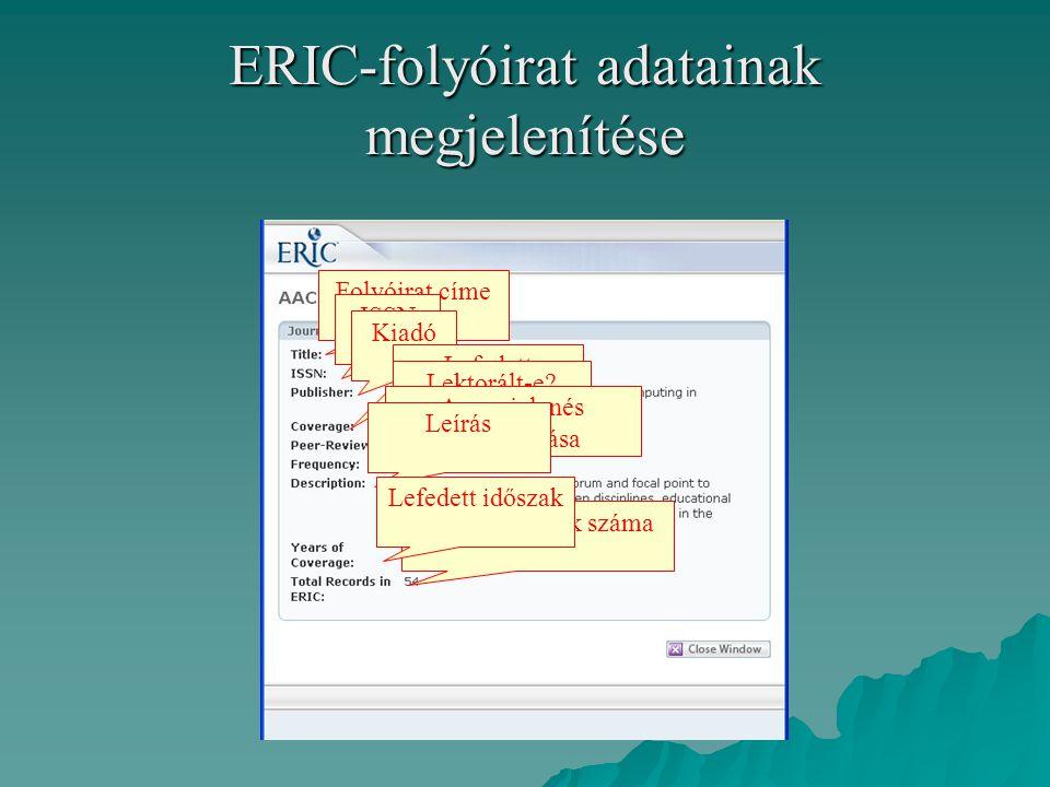 ERIC-folyóirat adatainak megjelenítése