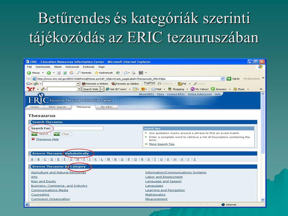 Betűrendes és kategóriák szerinti tájékozódás az ERIC tezauruszában