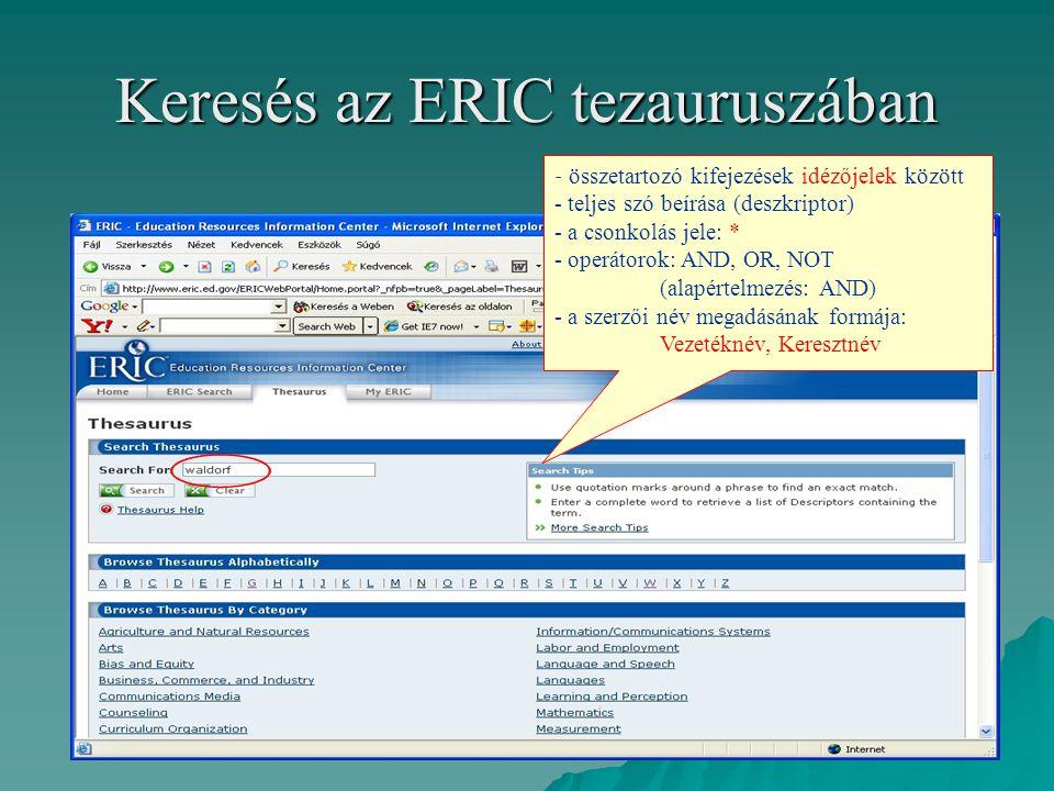 Keresés az ERIC tezauruszában