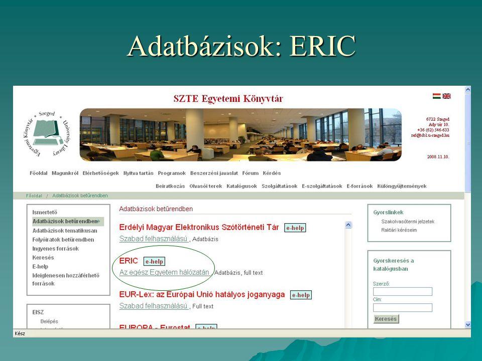 Adatbázisok: ERIC
