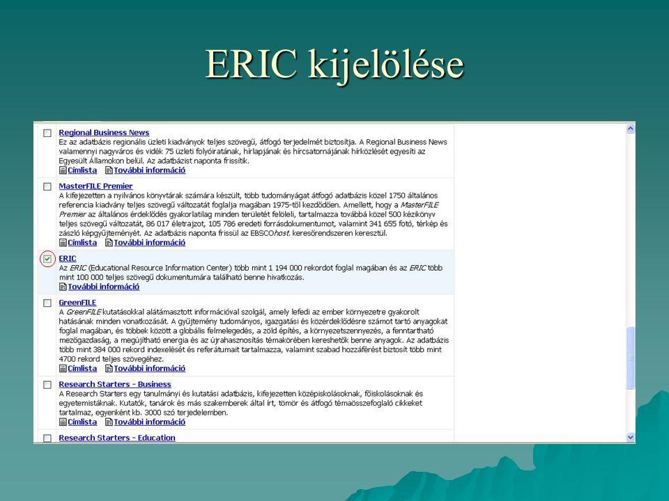 ERIC kijelölése