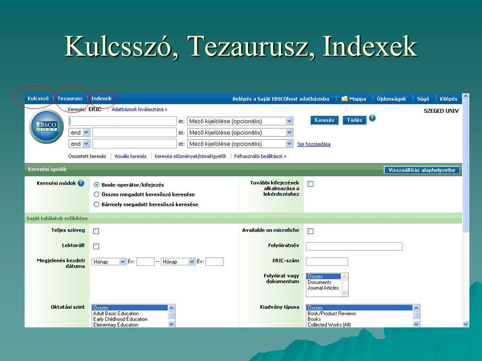 Kulcsszó, Tezaurusz, Indexek