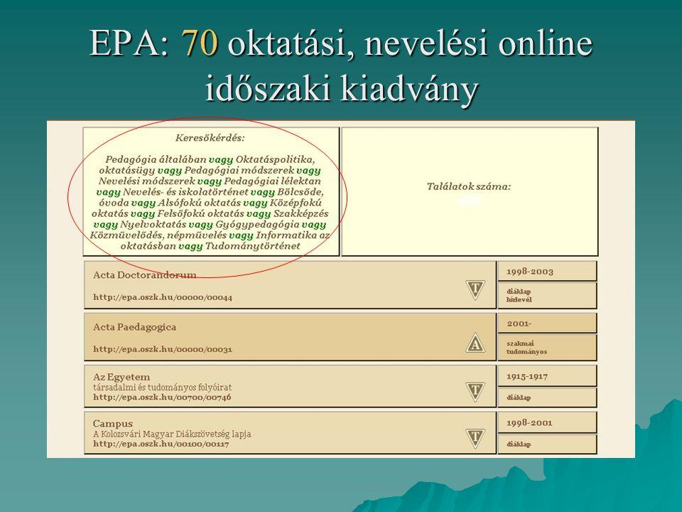 EPA: 70 oktatási, nevelési online időszaki kiadvány