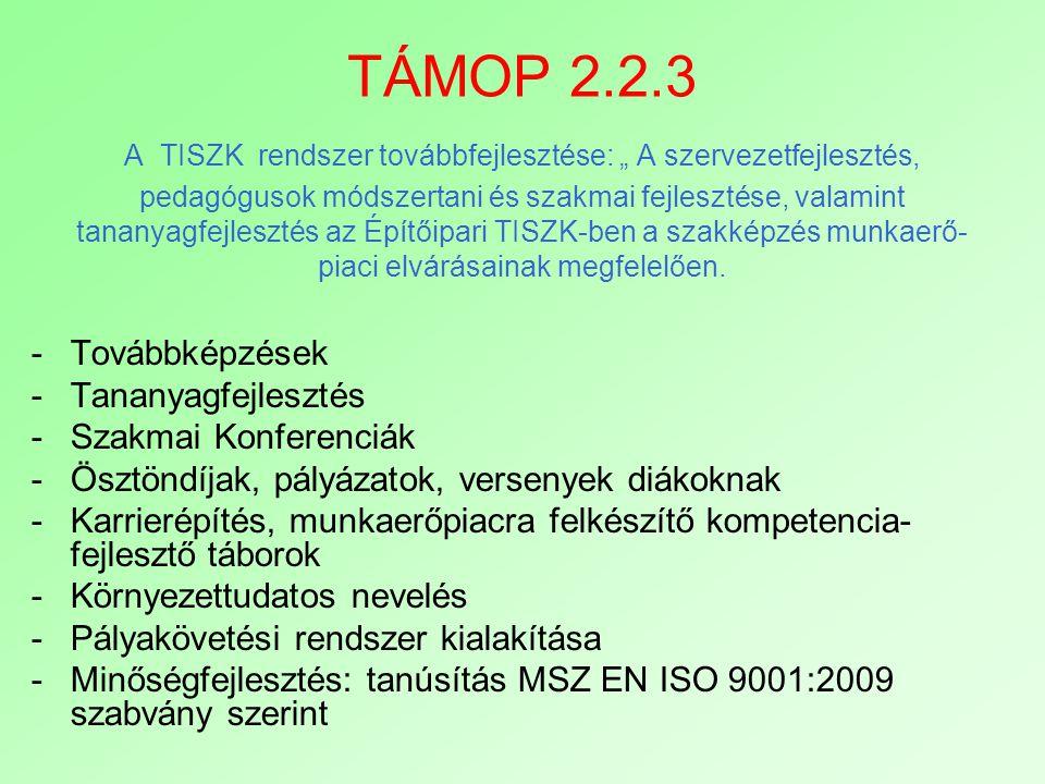 """TÁMOP 2.2.3 A TISZK rendszer továbbfejlesztése: """" A szervezetfejlesztés, pedagógusok módszertani és szakmai fejlesztése, valamint tananyagfejlesztés az Építőipari TISZK-ben a szakképzés munkaerő-piaci elvárásainak megfelelően."""