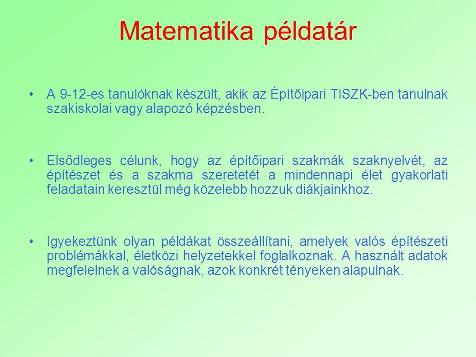 Matematika példatár A 9-12-es tanulóknak készült, akik az Építőipari TISZK-ben tanulnak szakiskolai vagy alapozó képzésben.
