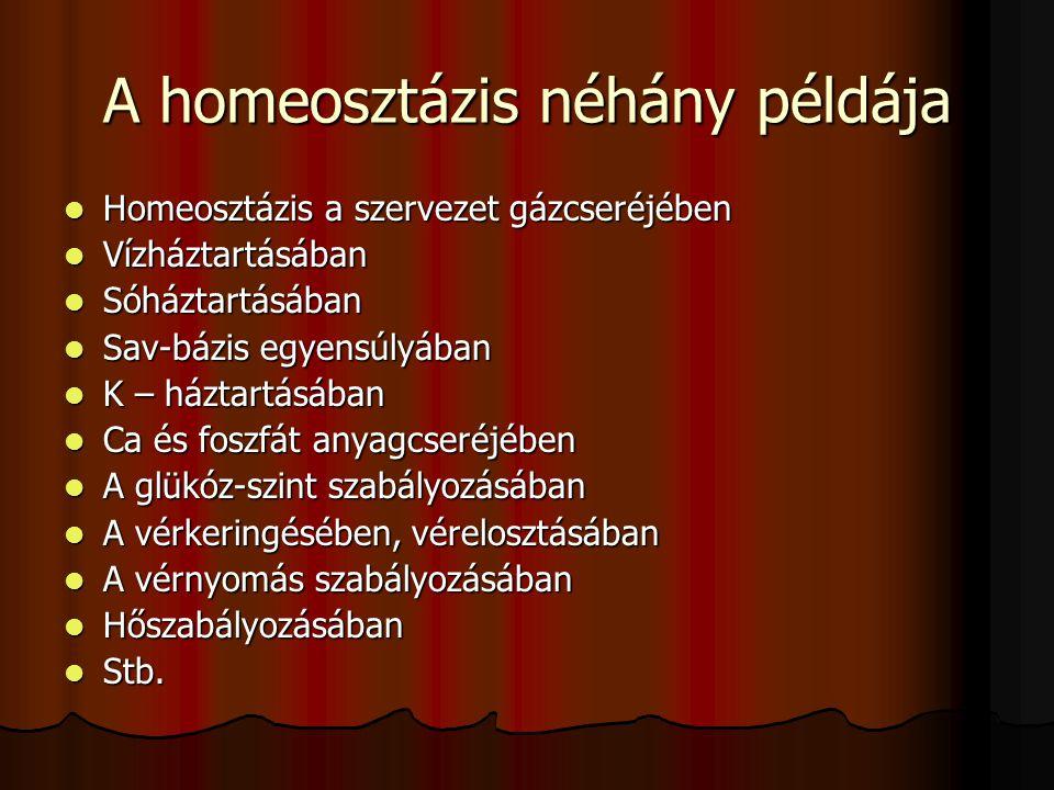 A homeosztázis néhány példája