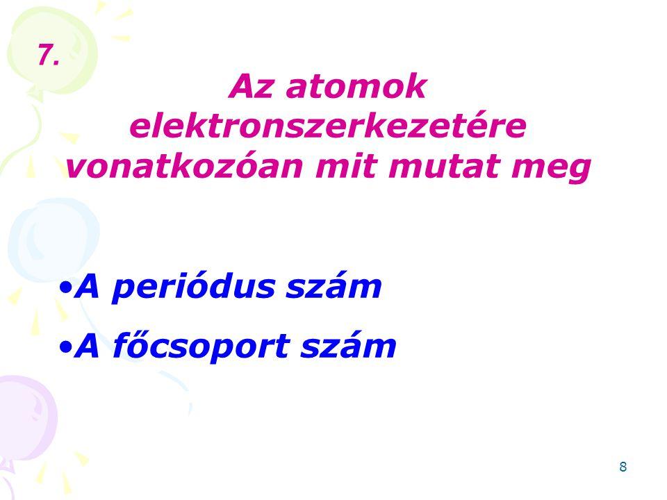 Az atomok elektronszerkezetére vonatkozóan mit mutat meg