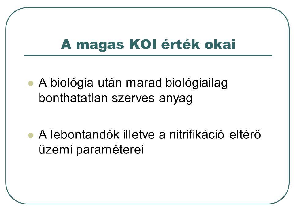 A magas KOI érték okai A biológia után marad biológiailag bonthatatlan szerves anyag.