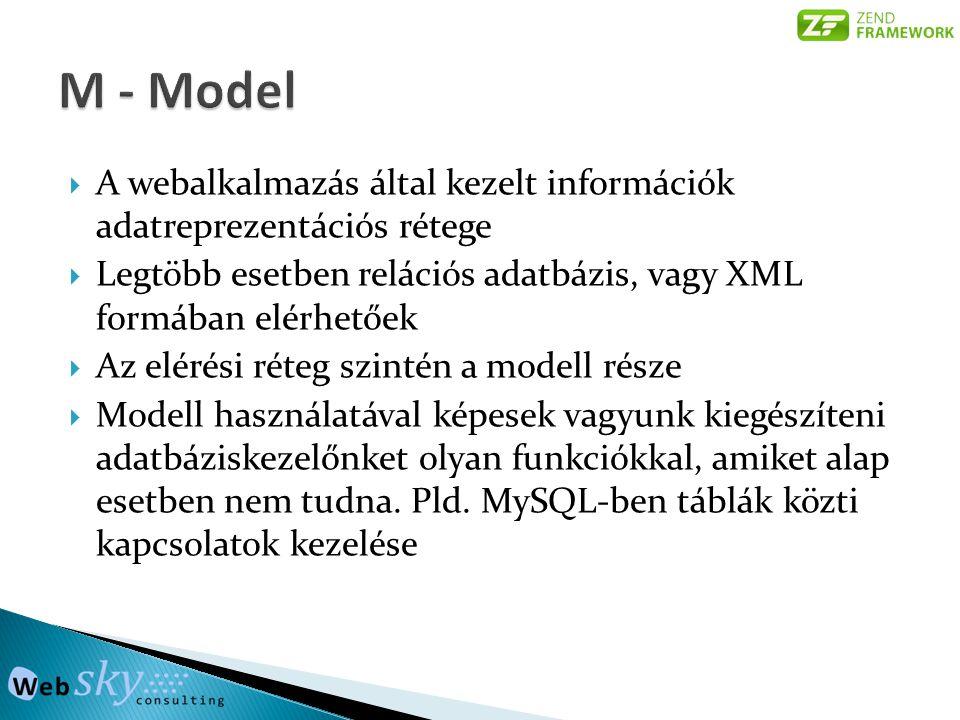 M - Model A webalkalmazás által kezelt információk adatreprezentációs rétege. Legtöbb esetben relációs adatbázis, vagy XML formában elérhetőek.