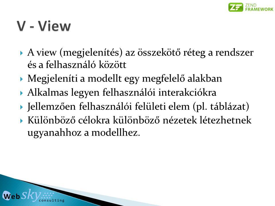 V - View A view (megjelenítés) az összekötő réteg a rendszer és a felhasználó között. Megjeleníti a modellt egy megfelelő alakban.