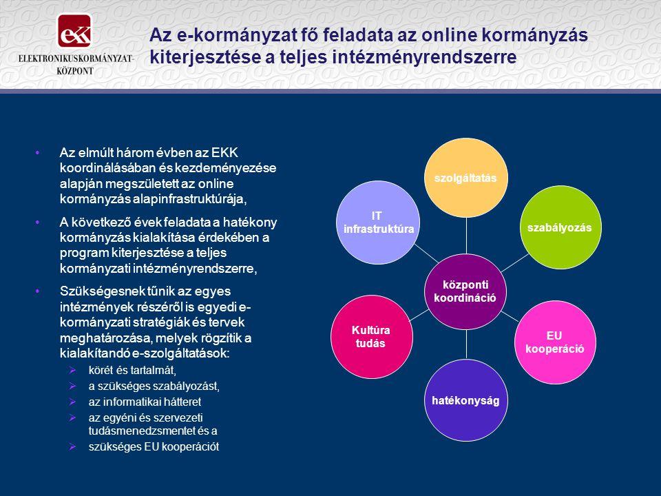 Az e-kormányzat fő feladata az online kormányzás kiterjesztése a teljes intézményrendszerre