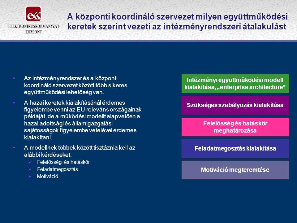 A központi koordináló szervezet milyen együttműködési keretek szerint vezeti az intézményrendszeri átalakulást