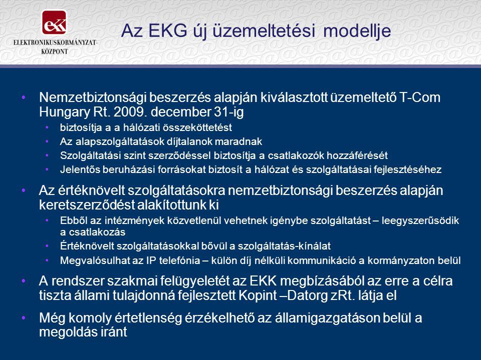 Az EKG új üzemeltetési modellje