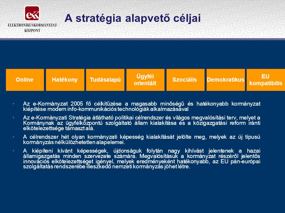 A stratégia alapvető céljai