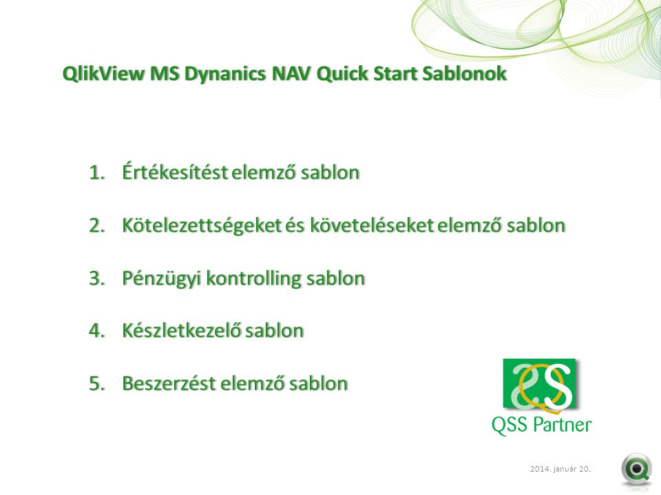 QlikView MS Dynanics NAV Quick Start Sablonok