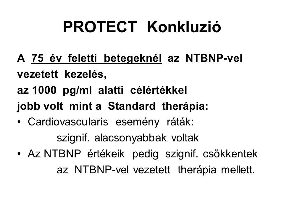 PROTECT Konkluzió A 75 év feletti betegeknél az NTBNP-vel
