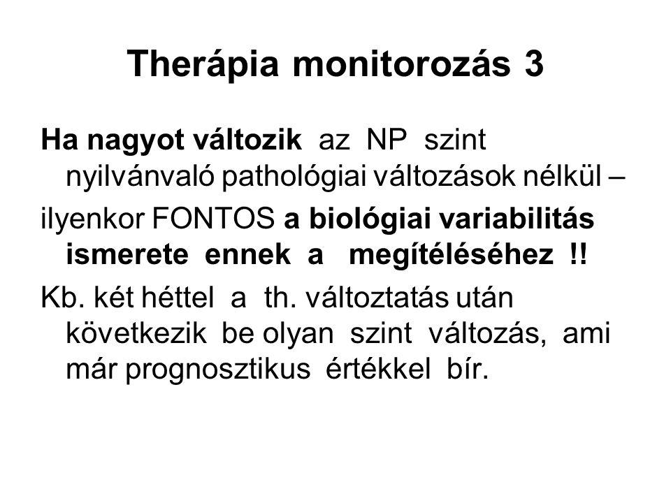 Therápia monitorozás 3 Ha nagyot változik az NP szint nyilvánvaló pathológiai változások nélkül –
