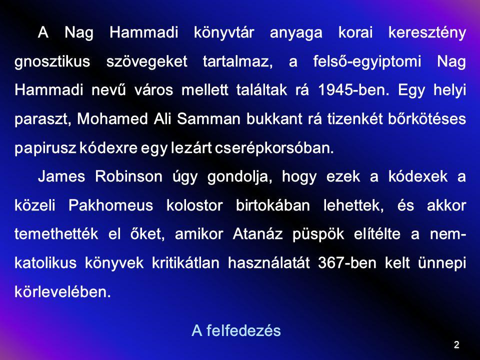 A Nag Hammadi könyvtár anyaga korai keresztény gnosztikus szövegeket tartalmaz, a felső-egyiptomi Nag Hammadi nevű város mellett találtak rá 1945-ben. Egy helyi paraszt, Mohamed Ali Samman bukkant rá tizenkét bőrkötéses papirusz kódexre egy lezárt cserépkorsóban.