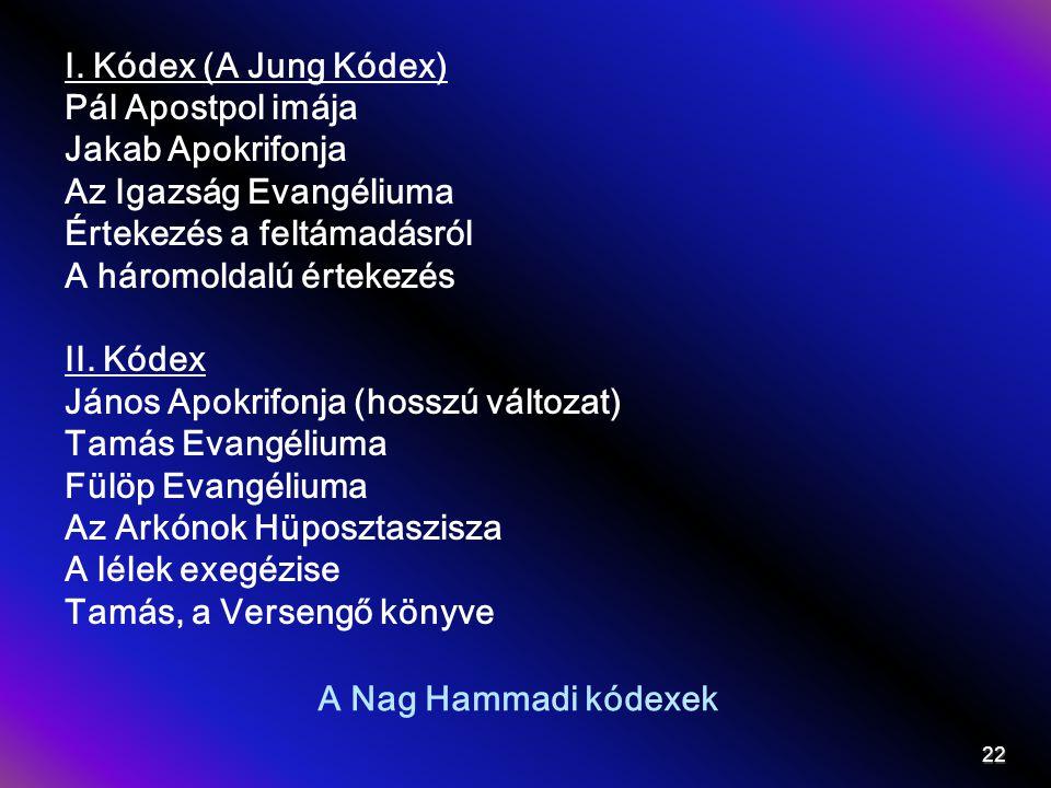 I. Kódex (A Jung Kódex) Pál Apostpol imája. Jakab Apokrifonja. Az Igazság Evangéliuma. Értekezés a feltámadásról.