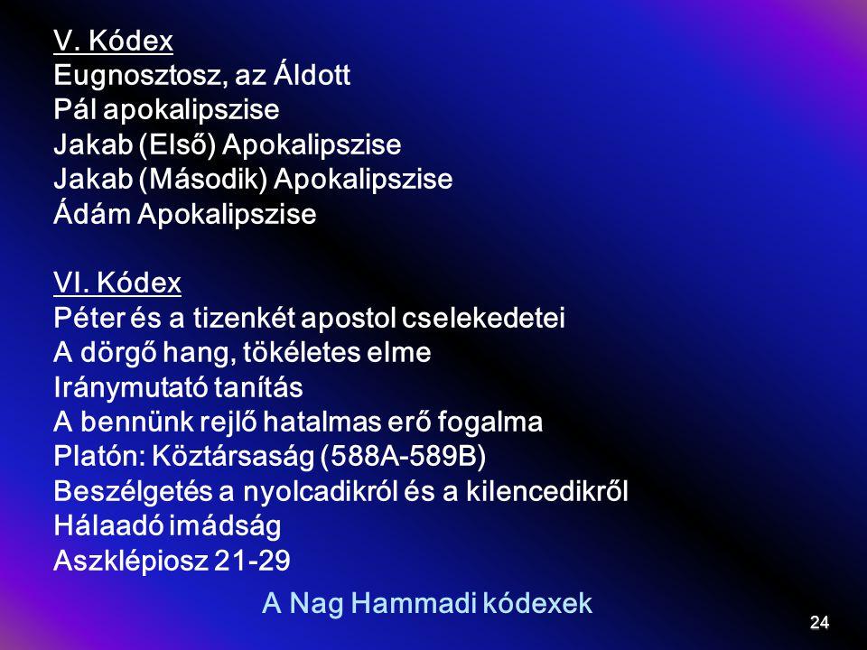 V. Kódex Eugnosztosz, az Áldott. Pál apokalipszise. Jakab (Első) Apokalipszise. Jakab (Második) Apokalipszise.
