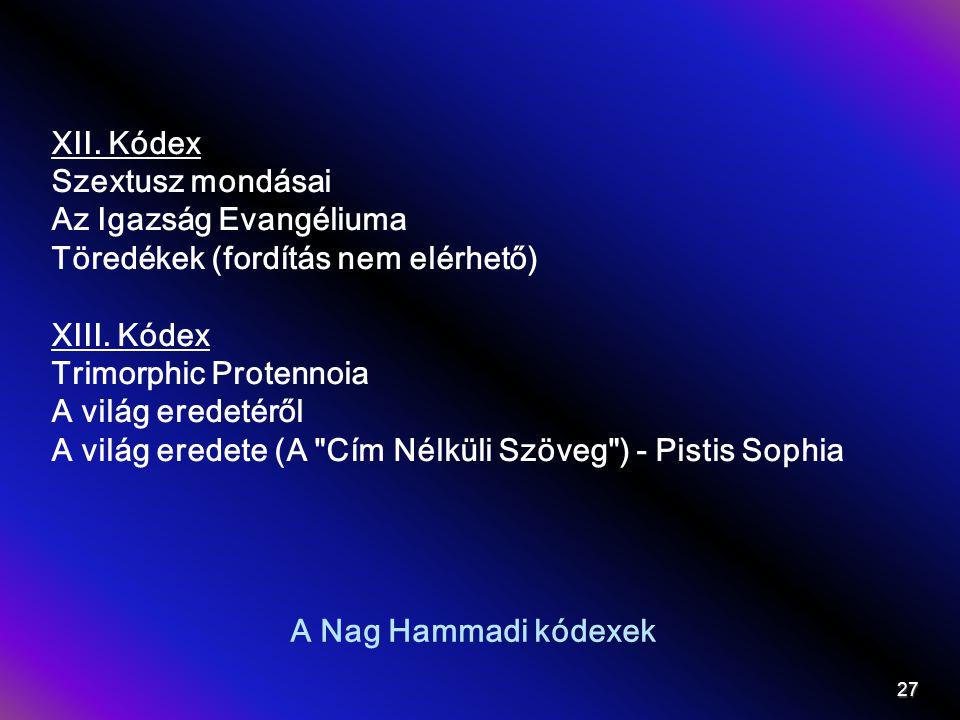 XII. Kódex Szextusz mondásai. Az Igazság Evangéliuma. Töredékek (fordítás nem elérhető) XIII. Kódex.