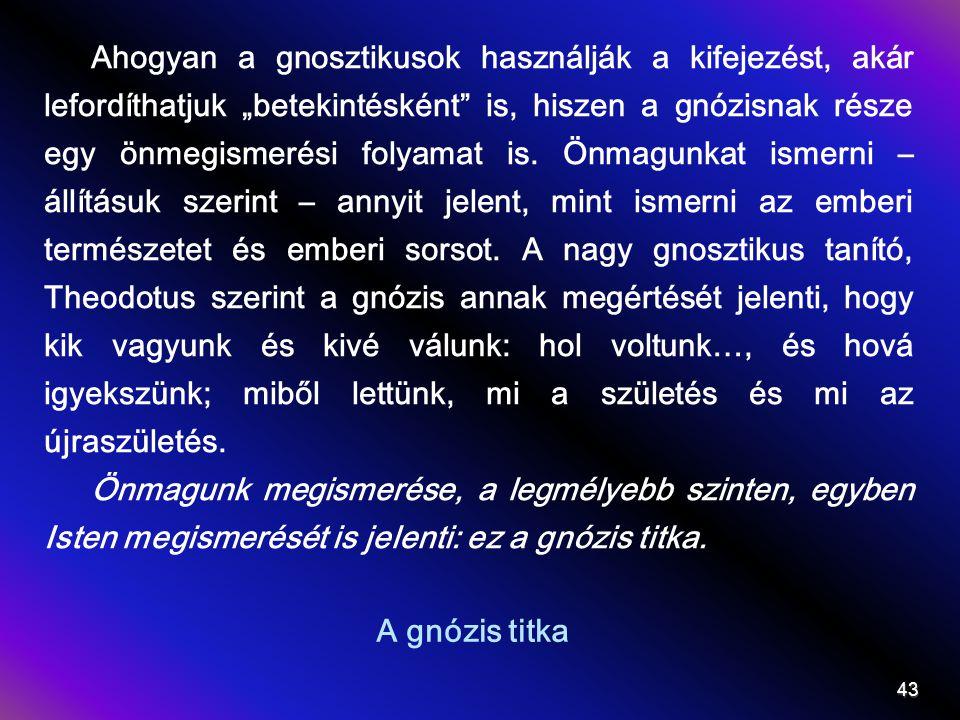 """Ahogyan a gnosztikusok használják a kifejezést, akár lefordíthatjuk """"betekintésként is, hiszen a gnózisnak része egy önmegismerési folyamat is. Önmagunkat ismerni – állításuk szerint – annyit jelent, mint ismerni az emberi természetet és emberi sorsot. A nagy gnosztikus tanító, Theodotus szerint a gnózis annak megértését jelenti, hogy kik vagyunk és kivé válunk: hol voltunk…, és hová igyekszünk; miből lettünk, mi a születés és mi az újraszületés."""