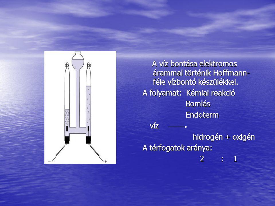 A víz bontása elektromos árammal történik Hoffmann-féle vízbontó készülékkel.