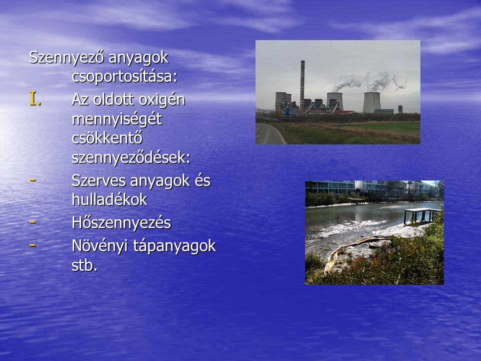 Szennyező anyagok csoportosítása: